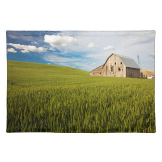 Old Barn Surrounded by Spring Wheat Field 2 Placemat