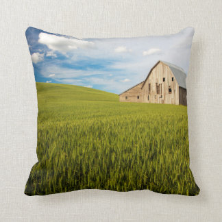 Old Barn Surrounded by Spring Wheat Field 2 Throw Pillow