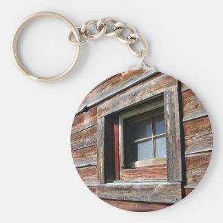Old Barn Window Basic Round Button Key Ring