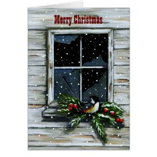 Old Barn Window: Snow: Christmas, Bird Card