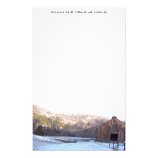 Old Barn Winter Snow Scenic Mountains Colorado Stationery