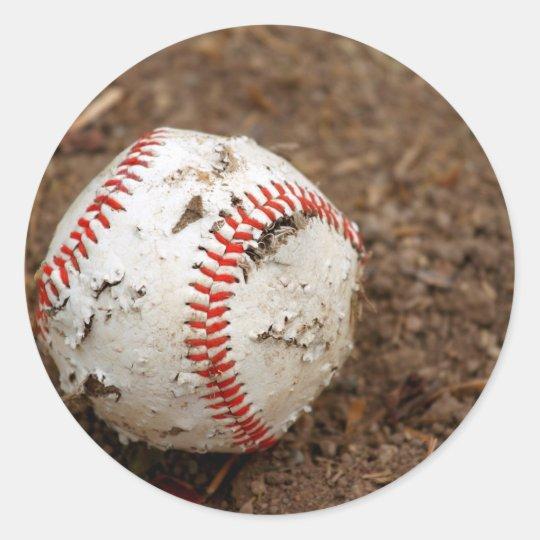 old baseball round sticker