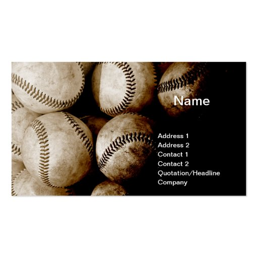 old baseballs business card