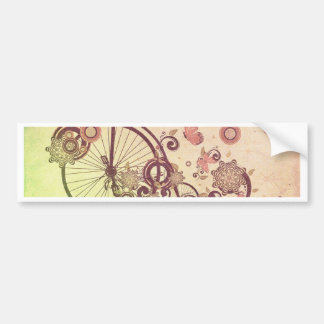 Old Bicycle and Floral Ornament Grunge Bumper Sticker