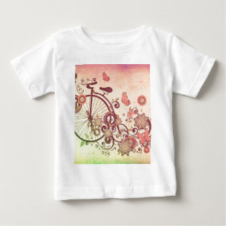 Old Bicycle and Floral Ornament Grunge Shirt