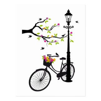Old bicycle with lamp, flower basket, birds, tree postcards