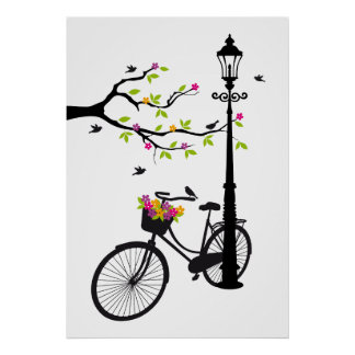Old bicycle with lamp, flower basket, birds, tree poster