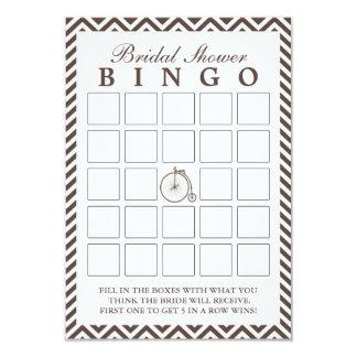 Old Bike Chevron Stripes Bridal Shower Bingo Cards 9 Cm X 13 Cm Invitation Card