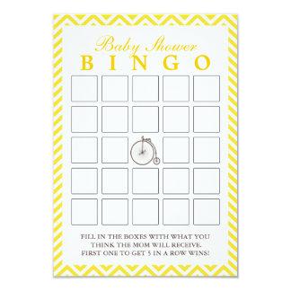 Old Bike Yellow Chevron Baby Shower Bingo Cards 9 Cm X 13 Cm Invitation Card