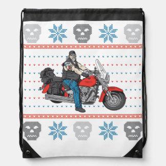 Old Biker Skulls Motorcycle Ugly Christmas Sweater Backpack
