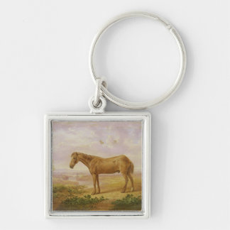 Old Billy, a Draught Horse, Aged 62 (oil on panel) Silver-Colored Square Key Ring