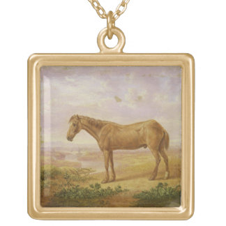 Old Billy, a Draught Horse, Aged 62 (oil on panel) Square Pendant Necklace