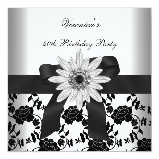 OLD Birthday Party Black White Flower Diamond Card