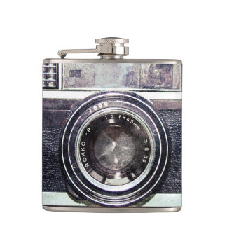 Old black camera hip flask