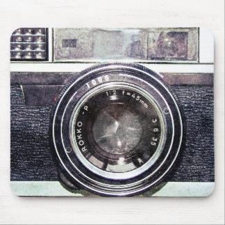 Old black camera mouse mat