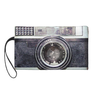 Old black camera wristlet purse