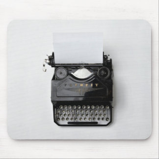 old black classic vintage typewriter mouse mat