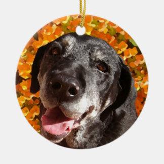 Old Black Labrador Christmas Ornament