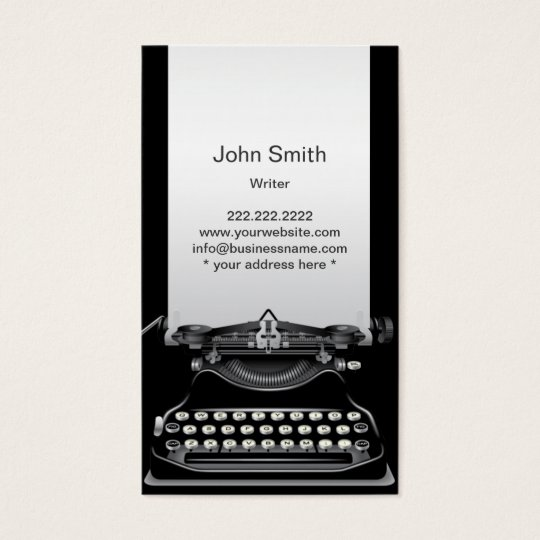 Old Black Typewriter Writer Business Card