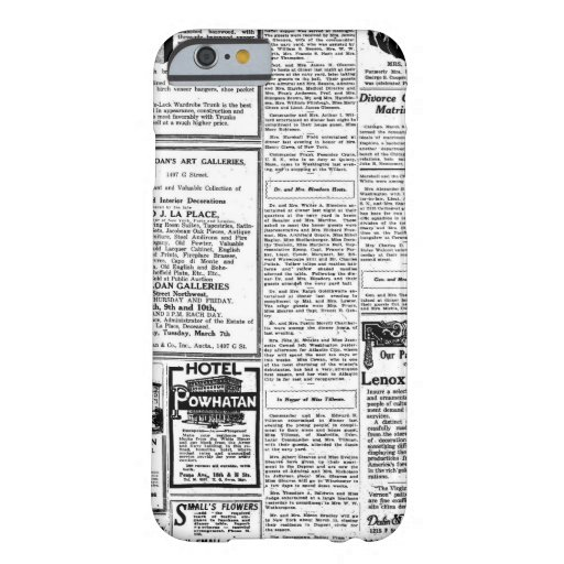 Old black & white newspaper, vintage retro advert iPhone 6 case