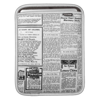 Old black & white newspaper, vintage retro advert iPad sleeve