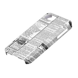 Old black & white newspaper, vintage retro advert iPhone 5 cases