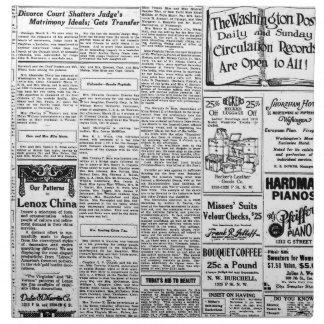 Old black & white newspaper, vintage retro advert napkin