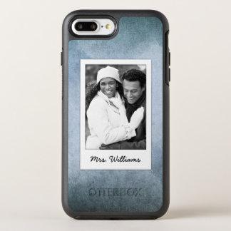 Old Blue & Black Watercolor Paper   Add Photo OtterBox Symmetry iPhone 8 Plus/7 Plus Case