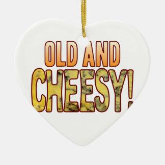 Old Blue Cheesy Ceramic Heart Decoration