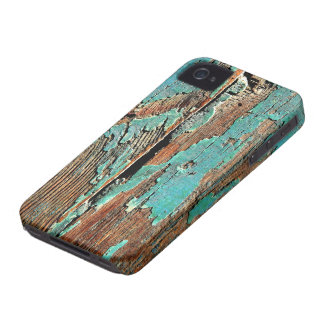Old blue paint on wood iPhone 4 cover