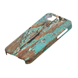 Old blue paint on wood iPhone 5 case