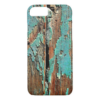 Old blue paint on wood iPhone 8/7 case
