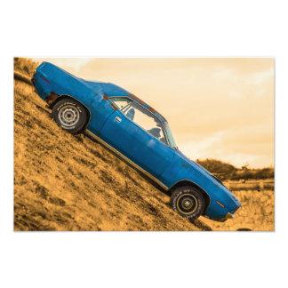 Old Blue Plymouth Barracuda Art Photo