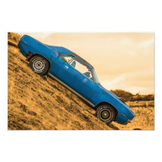 Old Blue Plymouth Barracuda Photograph
