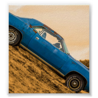 Old Blue Plymouth Barracuda Posters