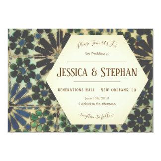 Old Blue Tiles Wedding Invitation