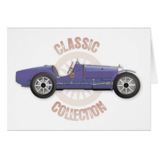 Old blue vintage racing car used on the track card