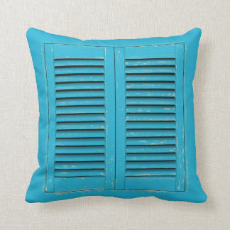 Old blue window shutters throw pillow