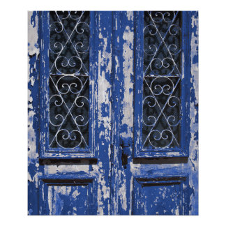 Old blue wooden door photo poster