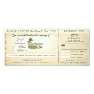 old boarding pass beach wedding invites with RSVP