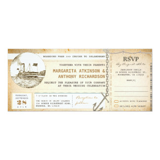 "old boarding pass cruise wedding invites with RSVP 4"" X 9.25"" Invitation Card"