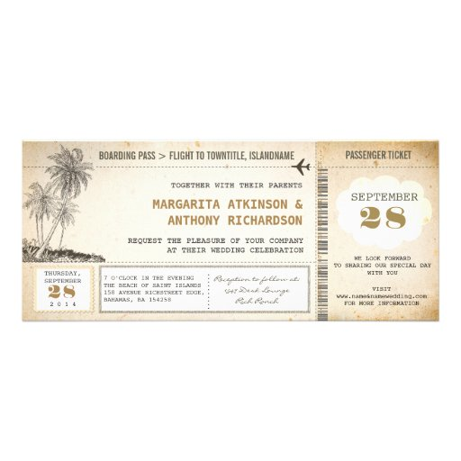 old boarding pass flight wedding invitations