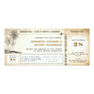 "old boarding pass flight wedding invitations 4"" x 9.25"" invitation card"