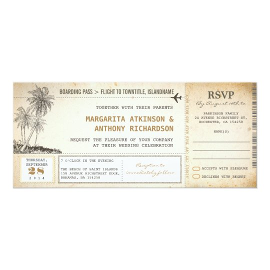 Old boarding pass flight wedding invites with rsvp zazzle old boarding pass flight wedding invites with rsvp stopboris Image collections