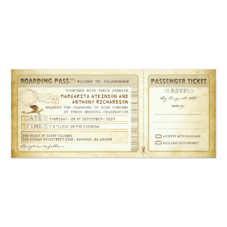 old boarding pass wedding tickets-invites & rsvp 10 cm x 24 cm invitation card
