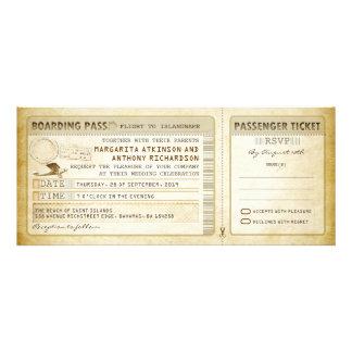 old boarding pass wedding tickets-invites rsvp