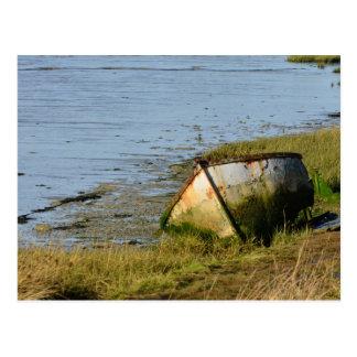 Old Boat in Creek Postcard