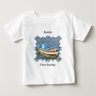 Old boat in the calm ocean. baby T-Shirt