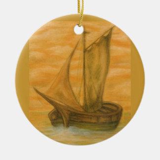 Old Boat Round Ceramic Decoration