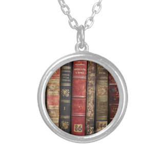 Old Book Round Pendant Necklace